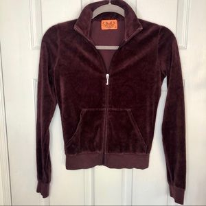 Juicy Couture Burgundy Zip Up Velvet Sweater
